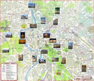 plan de la ville de Rome avec les monuments